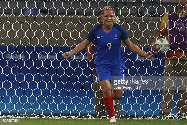 Eugenie le Sommer of France celebrates after scoring her team's second goal during Women's Group G match between France and Colombia on Day 2 of the...