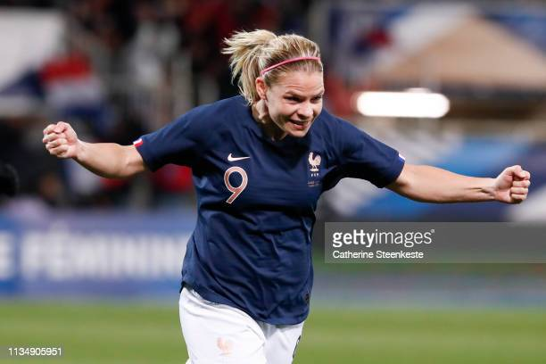 Eugenie Le Sommer of France celebrates her goal during the International Friendly game between France and Japan at Stade de L'AbbeDeschamps on April...