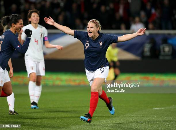 Eugenie Le Sommer of France celebrates her goal during the international friendly match between France and Japan at Stade de L'AbbeDeschamps on April...