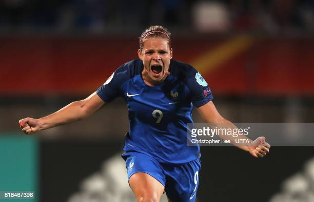 Eugenie Le Sommer of France celebrates scoring their first goal during the UEFA Women's Euro 2017 Group C match between France and Iceland at Koning...