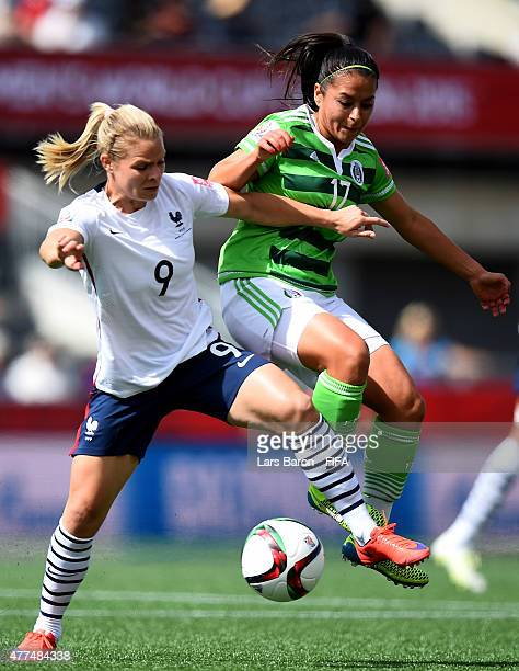 Eugenie le Sommer of France challenges Veronica Perez of Mexico during the FIFA Women's World Cup 2015 Group F match between Mexico and France at...