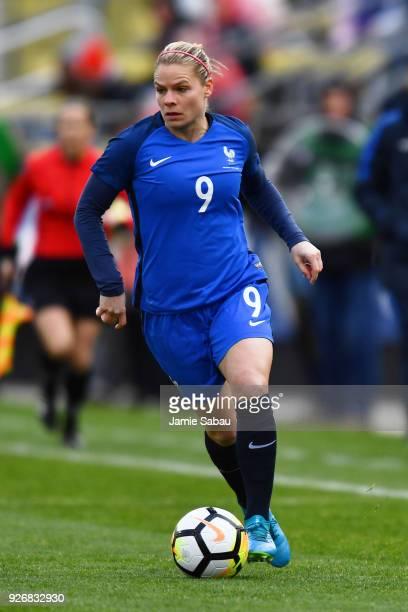 Eugenie Le Sommer of France controls the ball against England on March 1 2018 at MAPFRE Stadium in Columbus Ohio England defeated France 41