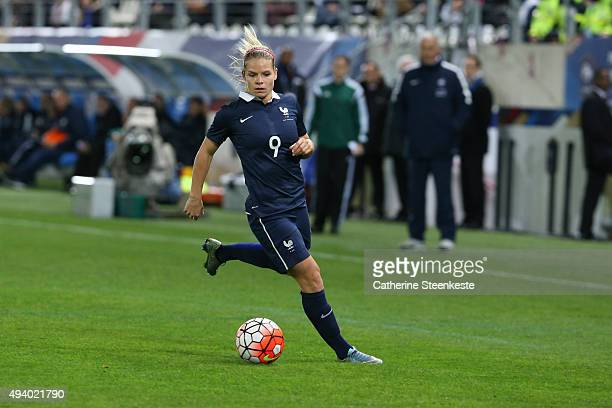 Eugenie Le Sommer of France controls the ball during the international friendly game between France and Netherlands at Stade Jean Bouin on October 23...