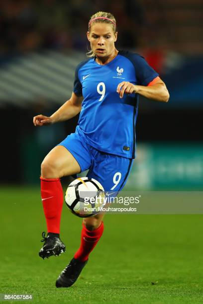 Eugenie Le Sommer of France in action during the International friendly match between France and England held at Stade du Hainaut on October 20 2017...