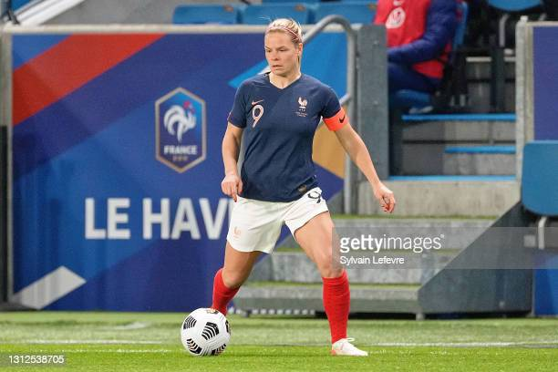Eugenie Le Sommer of France in action during the International women friendly match between France and United States on April 13, 2021 in Le Havre,...