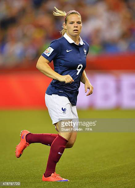 Eugenie Le Sommer of France in action during the quarter final match of the FIFA Women's World Cup between Germany and France at Olympic Stadium on...