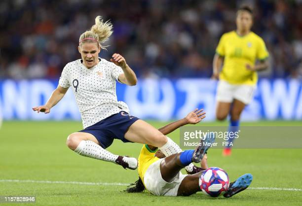 Eugenie Le Sommer of France is challenged by Ludmila of Brazil during the 2019 FIFA Women's World Cup France Round Of 16 match between France and...