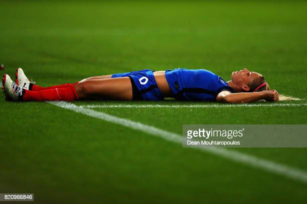 Eugenie Le Sommer of France looks dejected after a missed chance on goal during the Group C match between France and Austria during the UEFA Women's...