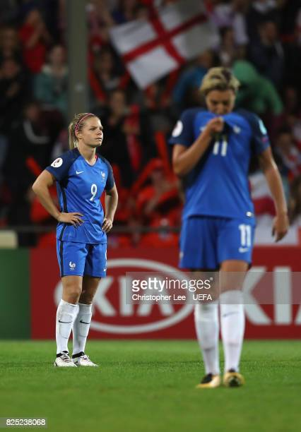 Eugenie Le Sommer of France looks dejected with Claire Lavogez of France after they lose during the UEFA Women's Euro 2017 Quarter Final match...