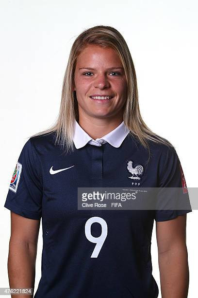 Eugenie Le Sommer of France poses during a FIFA Women's World Cup portrait session on June 6 2015 in Moncton Canada