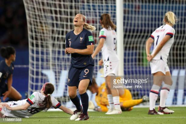 Eugenie Le Sommer of France reacts during the 2019 FIFA Women's World Cup France Quarter Final match between France and USA at Parc des Princes on...