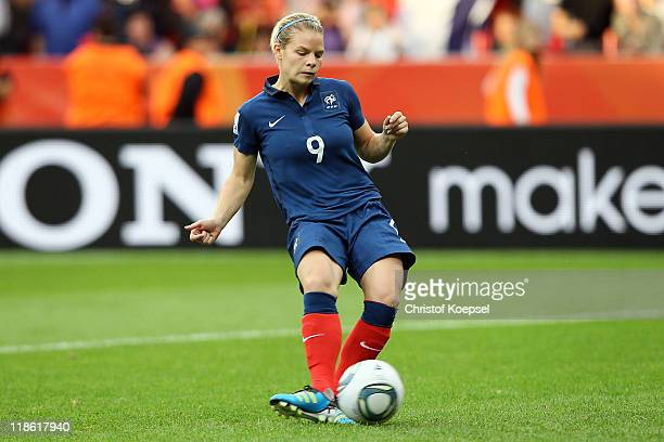 Eugenie Le Sommer of France scores the fifth goal by penalty during the FIFA Women's World Cup 2011 Quarter Final match between England and France at...