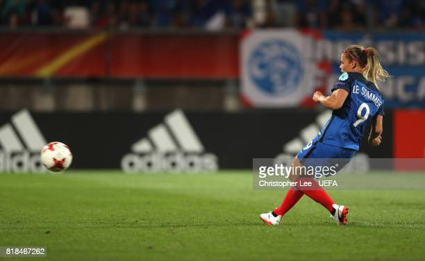 Eugenie Le Sommer of France scores their first goal during the UEFA Women's Euro 2017 Group C match between France and Iceland at Koning Willem II...