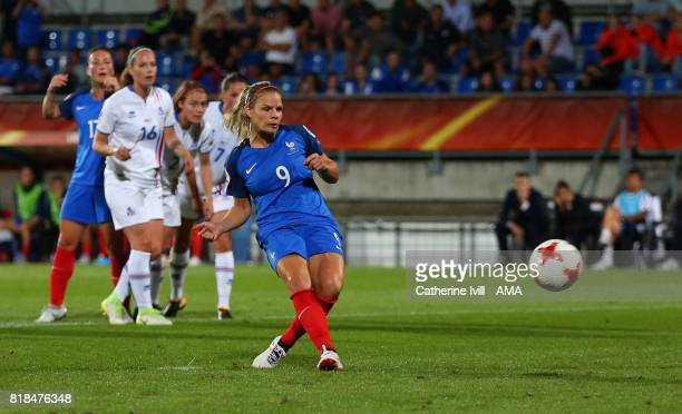 Eugenie Le Sommer of France Women scores a penalty goal to make it 10 during the UEFA Women's Euro 2017 match between France and Iceland at Koning...