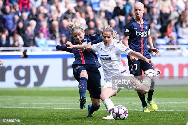Eugenie Le Sommer of Lyon and Lisa Dahlkvist of PSG during the UEFA women's Champions League semifinal match between Olympique Lyonnais and Paris...