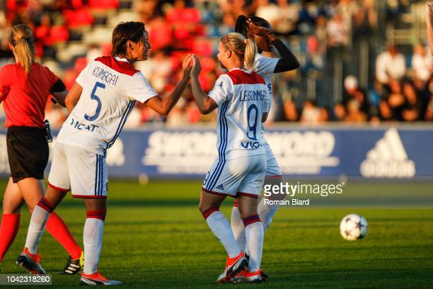 Eugenie Le Sommer of Lyon and Saki Kumagai of Lyon during the Women's Champions League match between Lyon and Avaldsnes on September 27 2018 in Lyon...