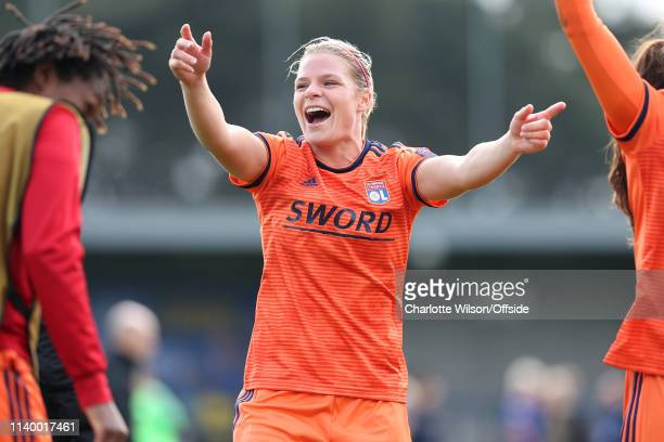 Eugenie Le Sommer of Lyon celebrates getting through to the final during the Women UEFA Champions League semi final match between Chelsea and...