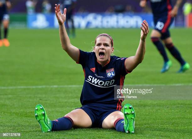 Eugenie Le Sommer of Lyon reacts during the UEFA Womens Champions League Final between VfL Wolfsburg and Olympique Lyonnais on May 24 2018 in Kiev...