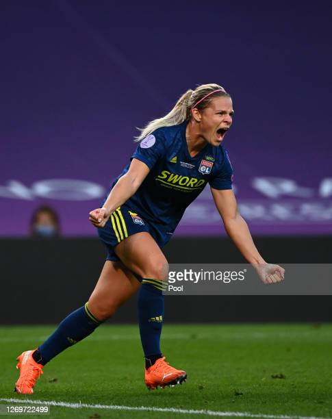 Eugenie Le Sommer of Olympique Lyon celebrates after scoring her team's first goal during the UEFA Women's Champions League Final between VfL...