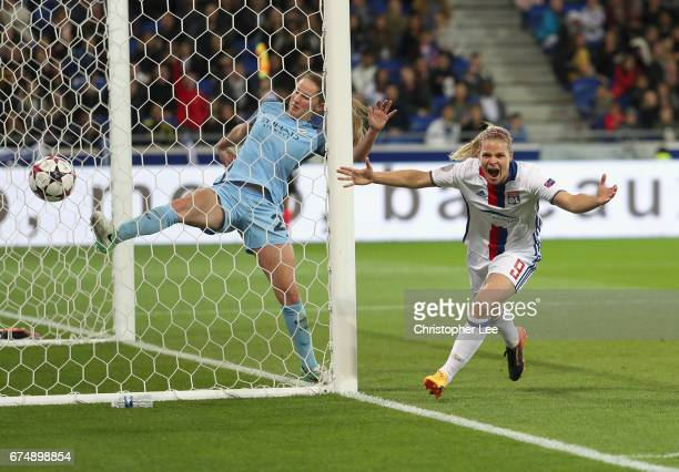 Eugenie Le Sommer of Olympique Lyon celebrates her disallowed goal during the UEFA Women's Champions League Semi Final second leg match between...