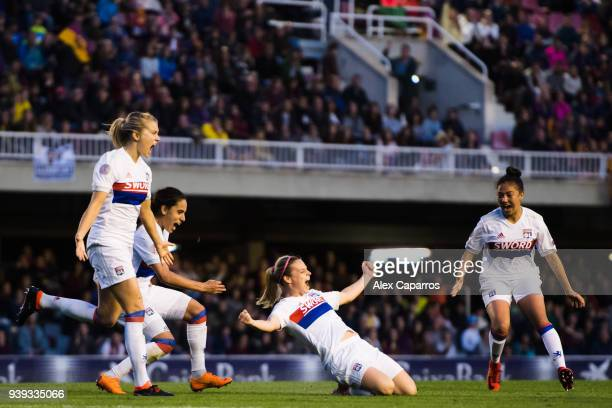 Eugenie Le Sommer of Olympique Lyon celebrates with her teammates after scoring the opening goal during the UEFA Women's Champions League Quarter...
