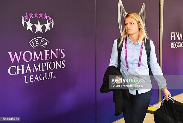 Eugenie Le Sommer of Olympique Lyonnais arrives prior to the UEFA Women's Champions League Final match between Wolfsburg and Lyon at Stadio Citta del...