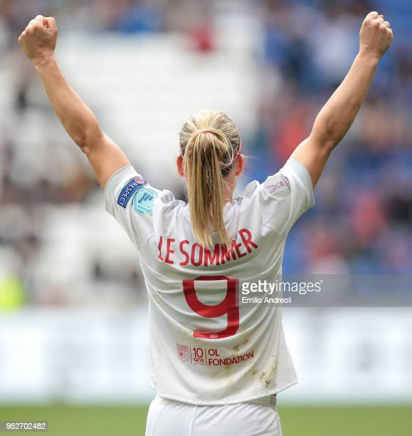 Eugenie Le Sommer of Olympique Lyonnais celebrates at the end of the UEFA Women's Champions League Semi Final Second Leg match between Olympique...