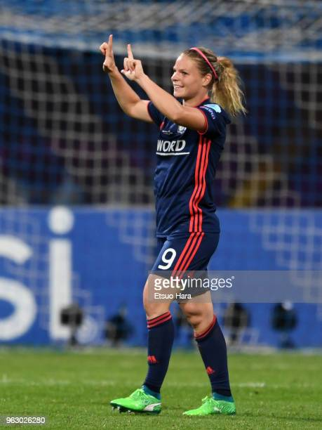 Eugenie Le Sommer of Olympique Lyonnais celebrates scoring her side's second goal during the UEFA Womens Champions League Final between VfL Wolfsburg...