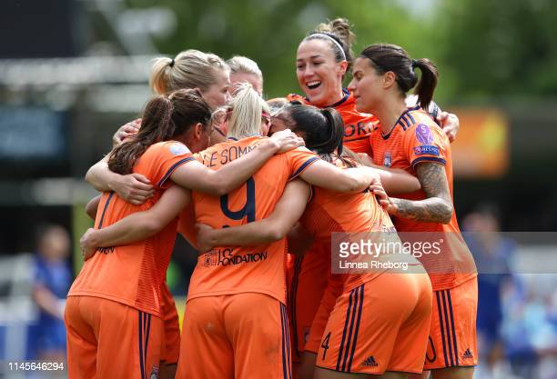 Eugenie Le Sommer of Olympique Lyonnais Women celebrates after scoring her team's first goal with her team mates during the UEFA Women's UEFA...