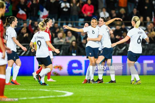 Eugenie Le Sommier of France Delphine Cascarino of France Charlotte Bilbault of France and Amandine Henry of France celebrate the goal during the...