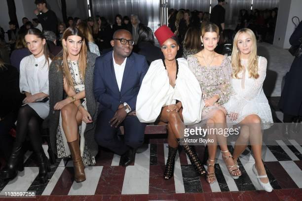 Eugenie Niarchos, Bianca Brandolini D'Adda, Etienne Russo, Janelle Monae, Pixie Geldof and Harley Viera-Newton attend the Giambattista Valli show as...