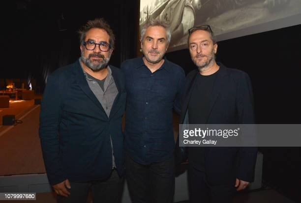 Eugenio Caballero, Alfonso Cuarón and Emmanuel Lubezki attend the Netflix 'Roma' Experience at Raleigh Studiods on December 09, 2018 in Los Angeles,...