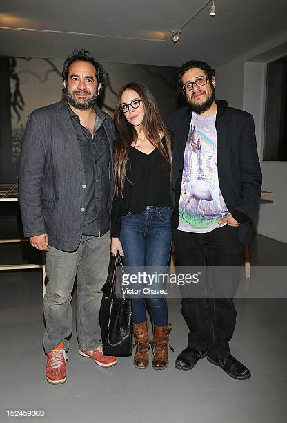 Eugenio Caballero Camila Sodi and Artemio attend the Yvonne Venegas exhibition at Museo Carrillo Gil on September 20 2012 in Mexico City Mexico