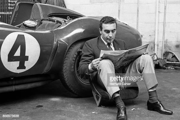 Eugenio Castellotti Ferrari 121LM 24 Hours of Le Mans Le Mans 06 December 1955 Eugenio Castellotti chivk and well dressed as always relaxing in the...