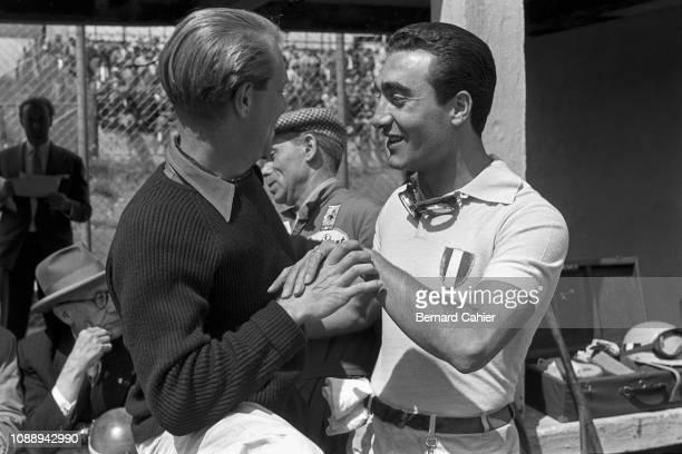 Eugenio Castellotti, Peter Collins, Grand Prix of Germany, Nurburgring, 05 August 1956. Ferrari teammates Peter Collins and Eugenio Castellotti...