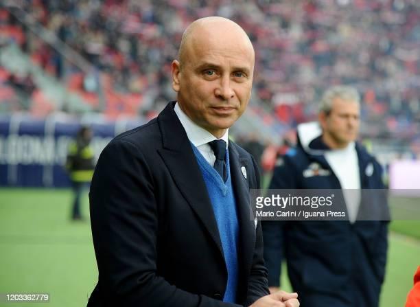 Eugenio Corini head coach of Brescia Calcio looks on prior the beginning of the Serie A match between Bologna FC and Brescia Calcio at Stadio Renato...