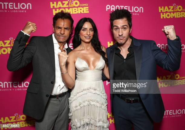 Eugenio Derbez Aislinn Derbez and Mauricio Ochmann attend the 'Hazlo Como Hombre' Los Angeles Premiere at ArcLight Hollywood on August 29 2017 in...