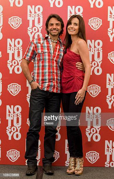 Eugenio Derbez and Alejandra Barros during a photo session with the cast of the movie No Eres Tu Soy Yo at Four Seasons Hotel on August 17 2010 in...