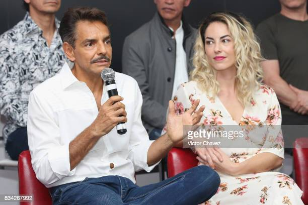 Eugenio Derbez and Barbara Mori attend a press conference and photocall to promote the film El Complot Mongol at Club de Periodistas de Mexico on...