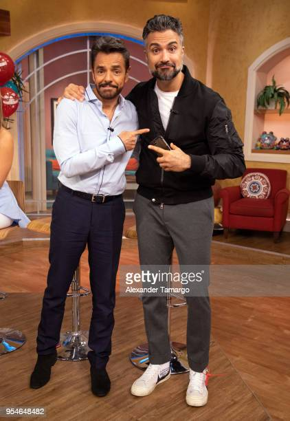 Eugenio Derbez and Jaime Camil are seen on the set of Despierta America at Univision Studios to promote the film Overboard on May 4 2018 in Miami...