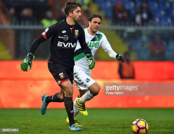 Eugenio Lamanna of Genoa competes with Alessandro Matri of Sassuolo during the Serie A match between Genoa CFC and US Sassuolo at Stadio Luigi...