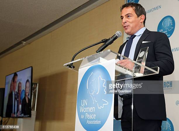 Eugenio Lopez Alonso accepts the International Philanthrophy Award at the 2016 International Women's Day Annual Awards Luncheon at United Nations on...