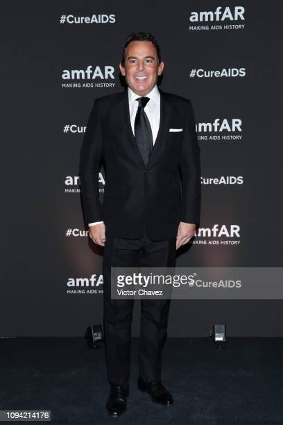 Eugenio Lopez poses during the amfAR gala dinner at the house of collector and museum patron Eugenio López on February 5 2019 in Mexico City Mexico