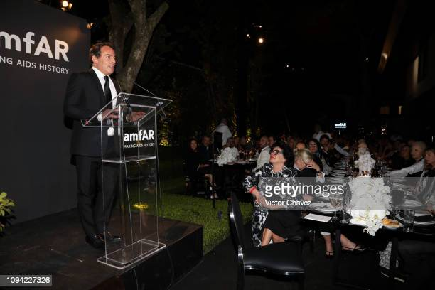 Eugenio Lopez speaks during the amfAR gala dinner at the house of collector and museum patron Eugenio López on February 5 2019 in Mexico City Mexico