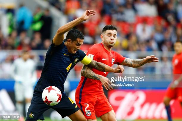 Eugenio Mena of Chile in action during the FIFA Confederations Cup 2017 Group B soccer match between Chile and Australia at Spartak Stadium in Moscow...