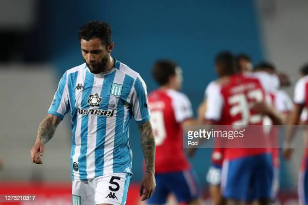 Eugenio Mena of Racing Club looks dejected after a group F match of Copa CONMEBOL Libertadores 2020 between Racing and Nacional at Juan Domingo Peron...