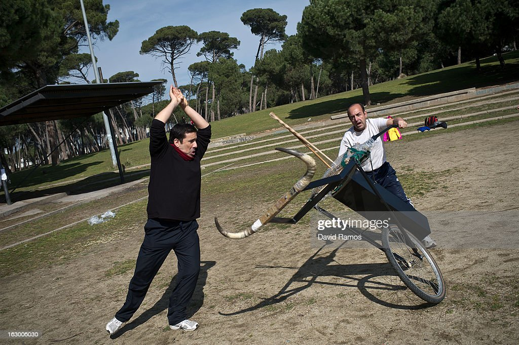 Eugenio Perucha (L) and Raul Felices practice bullfighting in a city park in Santa Perpetua de la Mogoda on March 3, 2013 in Barcelona, Spain. On February 12 the Spanish Parliament accepted a petition from bullfight supporters asking for the sport to become a key part of the Spain's cultural heritage. The petition, of 590,000 signatures, has been promoted by the Federation of Bullfighting Entities of Catalonia. The last bullfight in Catalonia was held in September 25, 2011.