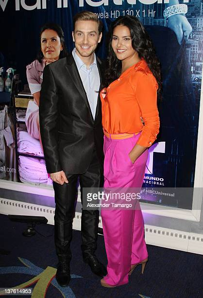 Eugenio Siller and Litzy Dominguez attend Telemundo Press Event At NATPE 2012 at Eden Roc a Renaissance Beach Resort and Spa on January 23 2012 in...