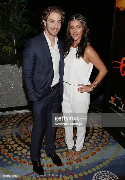 Eugenio Siller and Sara Maldonado attend Telemundo Luncheon to launch 'Camelia Le Texana' during NATPE at Eden Roc Hotel on January 27 2014 in Miami...