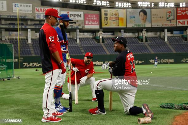 Eugenio Suarez of the Cincinnati Reds Amed Rosario of the New York Mets Juan Soto of the Washington Nationals and Ronald Acuna Jr #13 of the Atlanta...